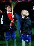 Prince Harry on right with Prince William at a polo match in Cirencester Photographic Print