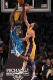 New Orleans Hornets v Los Angeles Lakers, Los Angeles, CA - January 7: Emeke Okafor and Pau Gasol Photographic Print by Stephen Dunn
