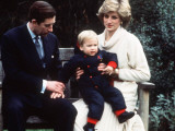 Prince Charles and Princess Diana with Prince William at Kensington Palace Photographic Print