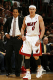 Orlando Magic v Miami Heat, Miami, FL - March 3: Erik Spoelstra and Mike Bibby Photographic Print by Issac Baldizon