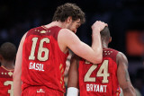 2011 NBA All Star Game, Los Angeles, CA - February 20: Pau Gasol and Kobe Bryant Photographic Print by Jeff Gross