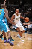 New Orleans Hornets v Denver Nuggets, Denver - January 9: Chauncey Billups Photographic Print by Garrett Ellwood