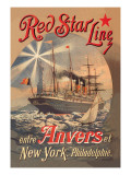 Red Star Cruise Line: Antwerp, New York, and Philadelphia Wall Decal by C. Satzmann