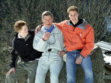 Prince Charles Prince of Wales with Prince William and Prince Harry at a photocall in Switzerland f Photographic Print