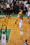Los Angeles Lakers v Boston Celtics, Boston, MA - February 10: Rajon Rondo and Kobe Bryant Photographic Print by Steve Babineau