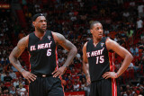 Chicago Bulls v Miami Heat, Miami, FL - March 6: LeBron James and Mario Chalmers Photographic Print by Victor Baldizon
