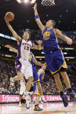 Golden State Warriors v Phoenix Suns, Phoenix, AZ - February 10: Steve Nash and Andris Biedrins Photographic Print by Christian Petersen