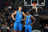 Dallas Mavericks v Minnesota Timberwolves, Minneapolis, MN - March 7: Dirk Nowitzki and Jason Terry Photographic Print by David Sherman