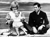Prince William with Prince Charles and Princess Diana in Australia, April 1983 Fotografisk tryk