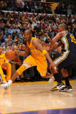 Utah Jazz v Los Angeles Lakers, Los Angeles, CA - January 25: Kobe Bryant and Raja Bell Photographic Print by Andrew Bernstein