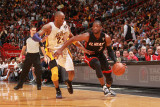 Los Angeles Lakers v Miami Heat, Miami, FL - March 10: Dwyane Wade and Kobe Bryant Photographic Print by Victor Baldizon