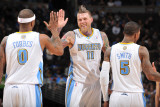 Charlotte Bobcats v Denver Nuggets, Denver - March 3: Chris Andersen, Gary Forbes and J.R. Smith Photographic Print by Garrett Ellwood