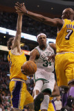 Los Angeles Lakers v Boston Celtics, Boston, MA - February 10: Paul Pierce, Lamar Odom and Pau Gaso Photographic Print by Elsa