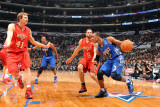 2011 NBA All Star Game, Los Angeles, CA - February 20: Rajon Rondo, Dirk Nowitzki and Deron William Photographic Print by Andrew Bernstein