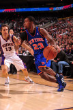 New York Knicks v Phoenix Suns, Phoenix - January 7: Toney Douglas and Steve Nash Photographic Print by Barry Gossage