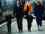 Prince Charles Prince of Wales April 1989 arriving at Aberdeen Station holding hands with Prince Wi Photographic Print