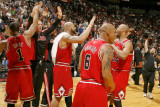 Chicago Bulls v Miami Heat, Miami, FL - March 6: Carlos Boozer, Derrick Rose, Keith Bogans and Taj  Photographic Print by Issac Baldizon