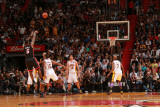 Los Angeles Lakers v Miami Heat, Miami, FL - March 10: LeBron James, Ron Artest and Pau Gasol Photographic Print by Victor Baldizon