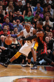 Los Angeles Lakers v Miami Heat, Miami, FL - March 10: Kobe Bryant and Dwyane Wade Photographic Print by Andrew Bernstein