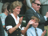 Princess Diana and Prince William at Wimbledon at the end of the womens final match, July 1994 Photographic Print