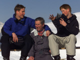 Prince Charles with Prince William and Prince Harry, on the ski slopes of Klosters enjoying their t Photographic Print