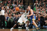 Golden State Warriors v Boston Celtics, Boston, MA - March 4: Kevin Garnett and David Lee Photographic Print by Brian Babineau