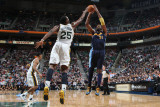 Denver Nuggets v Utah Jazz, Salt Lake City, UT - March 3: Nene and Al Jefferson Photographic Print by Melissa Majchrzak