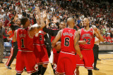 Chicago Bulls v Miami Heat, Miami, FL - March 6: Derrick Rose, Keith Bogans and Taj Gibson Photographic Print by Issac Baldizon