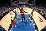 Portland Trail Blazers v Orlando Magic, Orlando, FL - March 7: Gerald Wallace and Gilbert Arenas Photographic Print by Fernando Medina