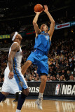 Dallas Mavericks v Denver Nuggets, Denver, CO - February 10: Dirk Nowitzki and Carmelo Anthony Photographic Print by Doug Pensinger