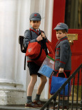 Prince William and Prince harry at their school after the easter holidays Photographic Print