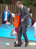 FA President Prince William tries his football skills during a visit to St Aidan's Primary School o Photographic Print
