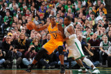 Los Angeles Lakers v Boston Celtics, Boston, MA - February 10: Andrew Bynum and Glen Davis Photographic Print by Brian Babineau