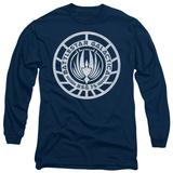 Long Sleeve: Battle Star Galactica-Scratched BSG Logo T-Shirt