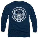 Long Sleeve: Battle Star Galactica-Scratched BSG Logo T-Shirt