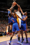 New York Knicks v Los Angeles Lakers, Los Angeles, CA - January 9: Andrew Bynum, Wilson Chandler, A Photographic Print by Andrew Bernstein
