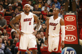 Sacramento Kings v Miami Heat, Miami - February 22: LeBron James and Dwyane Wade Photographic Print by Issac Baldizon