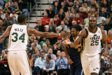 Denver Nuggets v Utah Jazz, Salt Lake City, UT - March 3: Al Jefferson and C.J. Miles Photographic Print by Melissa Majchrzak