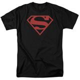Superman-Red On Black Shield Tshirt