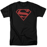 Superman-Red On Black Shield T-Shirt