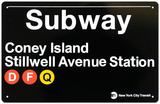 New York City Subway Coney Island Metal Sign Tin Sign