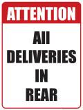 Deliveries in Rear Blikskilt