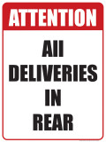 Deliveries in Rear Tin Sign