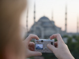 Tourist Taking Photo of Blue Mosque, Sultanahmet Photographic Print by Holger Leue