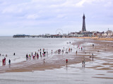 Beach with Holidaymakers and Blackpool Tower in Distance Photographic Print by Neil Setchfield