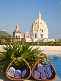 Hotel Charleston Cartagena Swimming Pool Towels and Dome of San Pedro Claver Church Photographic Print by Jane Sweeney