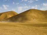 Camel Train Passing the Hills on the Road Between Maimana and Mazar-E-Sharif Fotografiskt tryck av Jane Sweeney