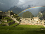 Rainbow over Incan Ruins of Machu Picchu Photographie par Emily Riddell