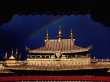 Roof of Jokhang Temple Framed by Lacework, Tibetan Old Quarter Photographic Print by Krzysztof Dydynski