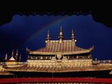 Roof of Jokhang Temple Framed by Lacework, Tibetan Old Quarter Photographic PrintKrzysztof Dydynski